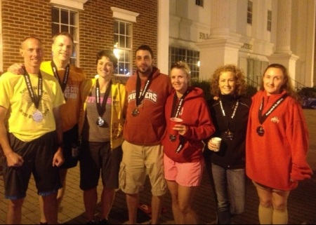 Our team (from left to right): Bryan, me, Marta, Jason, Tracy, Jeanine, Carrie. (Cory didn't show up at the finish line.)